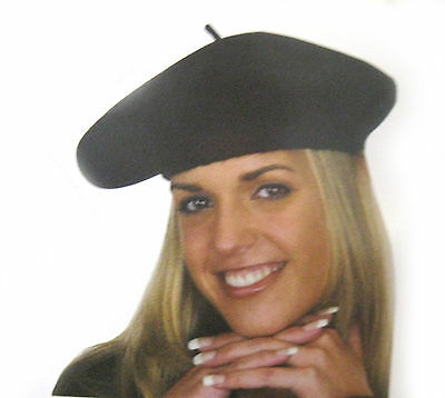 French 100% Wool Black Beret Hat Cap Adult Halloween Costume