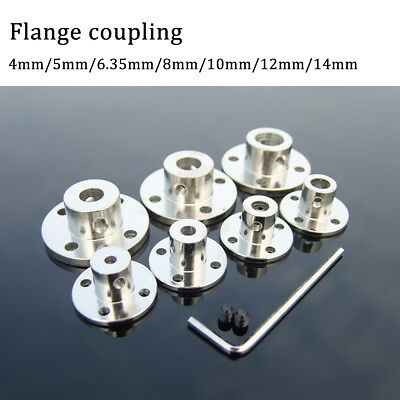 4-14mm Rigid Flange Coupling Motor Guide Shaft Coupler Metal + Screws + Spanner