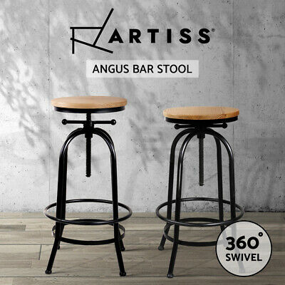 Artiss Vintage Bar Stools Retro Bar Stool Industrial Kitchen Counter Chairs Wood