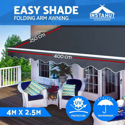 New Instahut Outdoor Folding Arm Awning Retractable Sunshade Canopy Grey 8 sizes