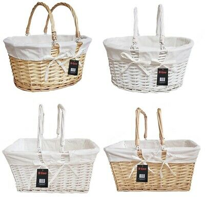 Traditional Shopping Baskets Hamper Folding Handles Vintage Storage Wicker Box