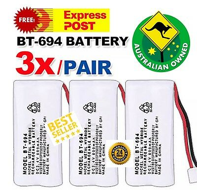 OZ NEW Cordless Phone Battery 3 PCS For Uniden BT-694, BT-694S Ni-MH 650mAh 2.4V