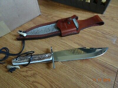 "Hen & Rooster 13.25"" O A Stag Handle Diamond Edition Bowie Knife Rattle Snake Sh"
