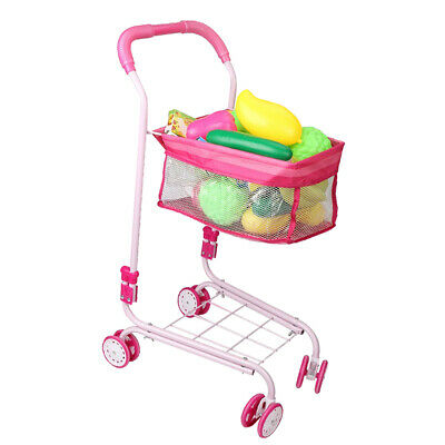 Baby Push Cart Portable Folding Pushchair Doll Trolley Kids Play Toys Pink