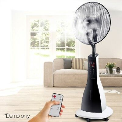 New Devanti Portable Misting Fan Pedestal Remote Water Cool Mist Timer 40cm Tall