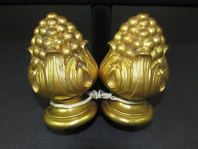 Antique Pair French Gilt Brass Architectural FINIALS  Acanthus Leaves