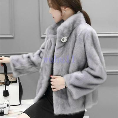 Womens Chic Faux Fur Short Coat Lapel Stand Collar Short Warm Jackets Outwear WU