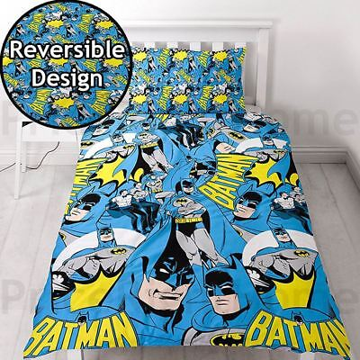 Batman Hero Single Duvet Cover Set Kids Boys Bedding Dc Comics - 2 Designs In 1