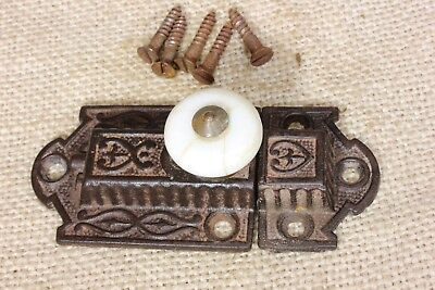 """Cabinet catch jelly Cupboard Latch white porcelain knob old antique fancy 3 3/8"""""""