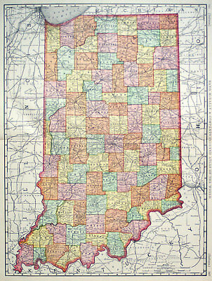 1898 Indiana, Rand Mcnally Antique Large Detailed Map