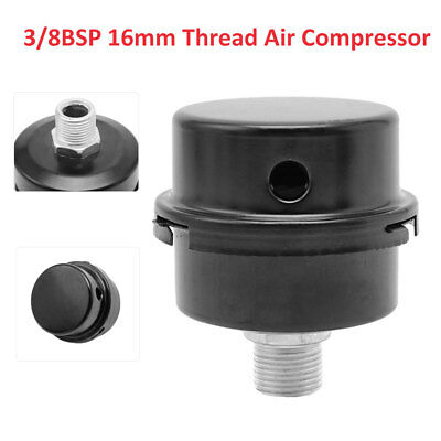 Thread Air Compressor 3/8BSP 16mm New Intake Filter Muffler Silencer Black Metal