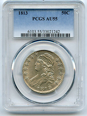 1813 Capped Bust Half Dollar PCGS AU 55 Almost Frosty Nice Hints Of Lustre PQ