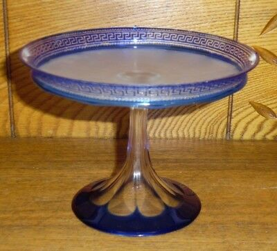 Antique Frosted & Cut To Clear Cobalt Blue Glass Comport Compote Tazza Greek Key