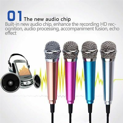 Mini Karaoke Condenser Wired 3.5mm Microphone Mic Mobilehone For Android 2018