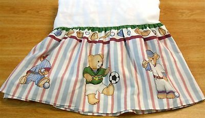 "Kidsline Bear & Sports Striped Crib Skirt ~ Drop 9.5"" ~ Blue White Multi"