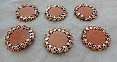 """Lot 6 Leather Spotted Rosettes Concho 1 3//4/""""  Saddle Horse Tack Biker Belts New"""