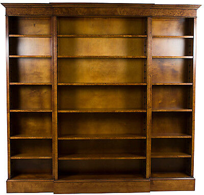 New Antique Style Large Triple Breakfront Open Bookcase Bookshelf Tall Library