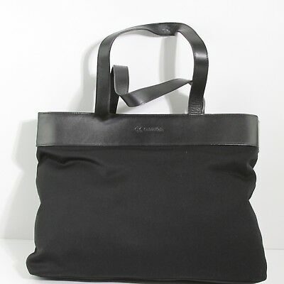 Captivating Calvin Klein Black Microfiber Leather Trim & Handles Large Box Tote