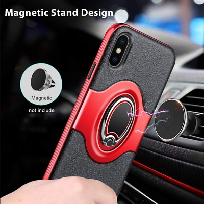 For iPhone X/XS Red Ring Holder Shockproof Rugged TPU Bumper Case Cover