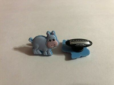 Blue Hippo Shoe-Doodle goes in holes of Rubber Shoes Crocs Shoe Charm PMI3005
