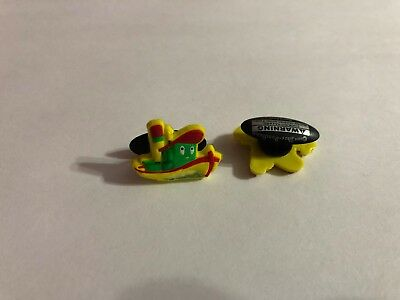 Yellow Tugboat Shoe-Doodle goes in holes of Rubber Shoes Crocs Shoe Charm StB006