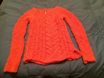 c95084b69 Free People Bright Coral Chunky Sweater XS Cable Knit Pullover Made in Italy