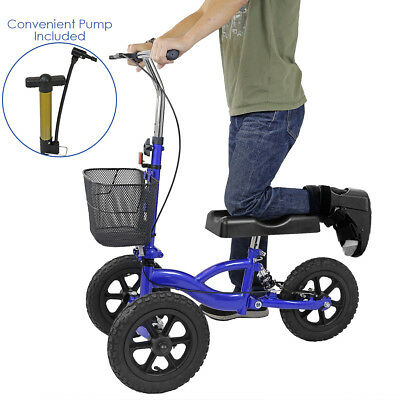 Clevr All Terrain Foldable Medical Steerable Knee Walker Scooter Roller, Blue
