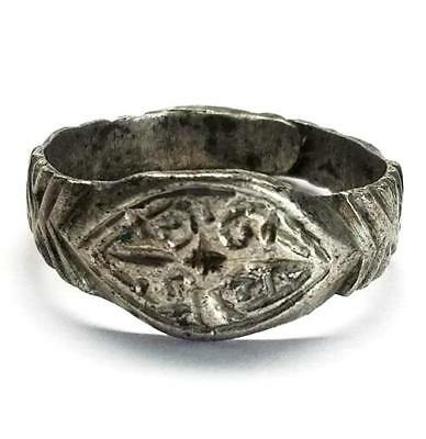 Byzantine Silver Ring with decoration, Circa 7th-9th Century AD>