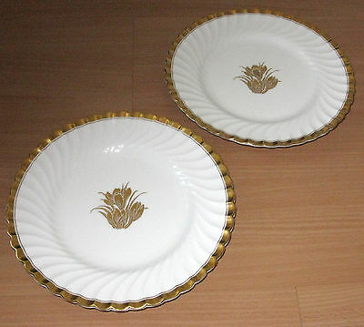 """Set Of 2 Mintons Tiffany & Co NY Gold Crocus 9"""" Scalloped Luncheon Plates"""