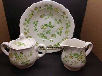 Sears Ironstone Creamer, Sugar, Round Vegetable Petite Flora