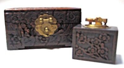 Antique Vintage Chinese Carved Camphor Wood Box Chest + Tabletop Lighter