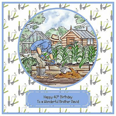 Mens Handmade Personalised Birthday Card Garden Gardening Allotment Gardener