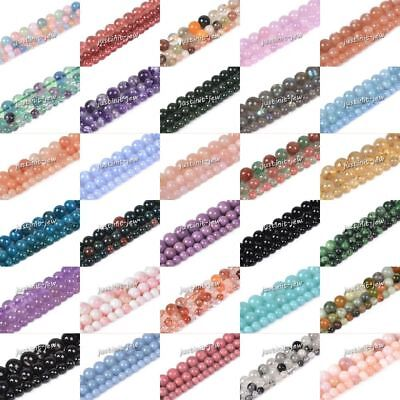 "Gemstone smooth round loose spacer beads 6mm 8mm 10mm 16"" Full strand"