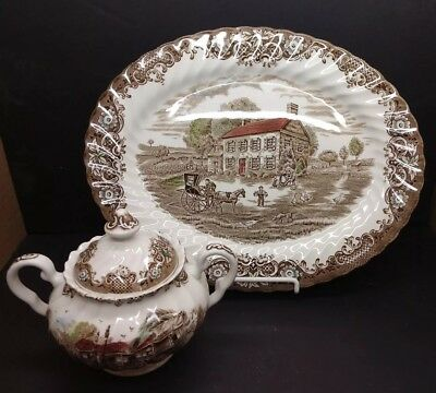 """Johnson Brothers HERITAGE HALL BROWN MULTICOLOR SUGAR BOWL & 12"""" Oval Platter"""