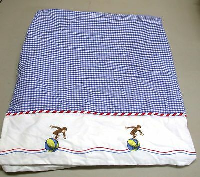 "Curious George Crib Skirt ~ Drop 17"" ~ Red Blue White Gingham NEW"