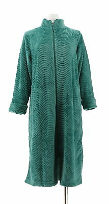 Stan Herman Petite Silky Plush Trimmed Wave Long Zip Robe Emerald PS NEW  A294383 0c057b470