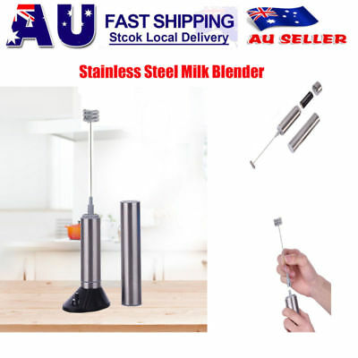 Electric Milk Frother Handheld Stainless Steel Blender Foam Maker Drink Mixer
