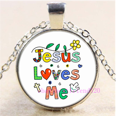 God Loves Me Glass Pendant Chain Necklace,Christian Jewelry,Christian Gift