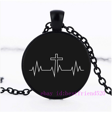 Cross Heartbeat Necklace,Christianity Necklace,Christian Gifts,Cross Jewelry