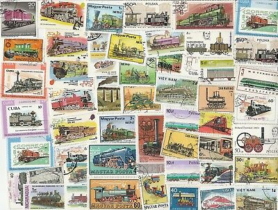 Trains 50   Different Used Stamps