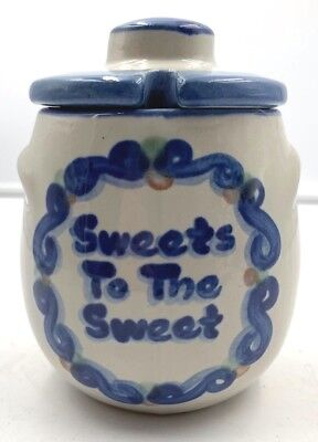 M.A. Hadley hand painted Art Pottery Ceramic Covered Sugar Bowl Honey Pot