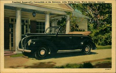1940's Postcard Warm Springs Georgia President Roosevelt's Automobile