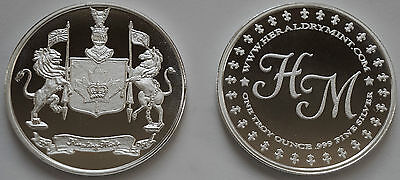 """1 Oz Hw Minting Company Heraldry Mint """"canada"""" Fine .999 Silver Coin / Round"""
