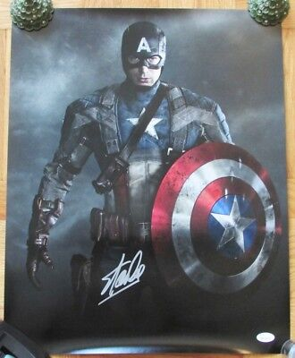 "CAPTAIN AMERICA 16""x20"" Poster - Signed by STAN LEE w/James Spence label"