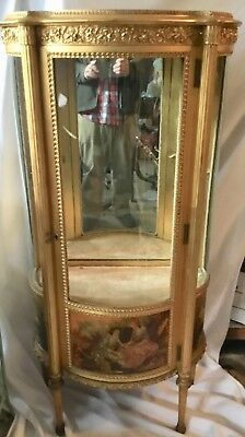 Antique Vernis Martin Style French Curved Glass Curio Display China Cabinet