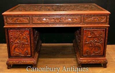Antique Chinese Desk - Carved Pedestal Desk Circa 1890