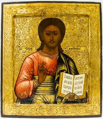 Old Antique Russian Icon of Christ Pantocrator, 19th century