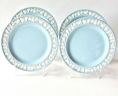 """Four Wedgwood Queens Ware Salad Plates Cream Lavender 8"""" English Wedgwood Nice"""