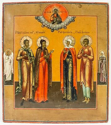 Old Antique Russian Icon of Selected Saints, 19th century