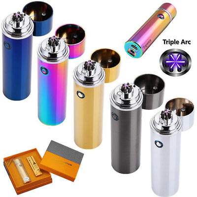 Electric USB Recharging Triple Arc 6 Cross Plasma Windproof Flameless Lighter